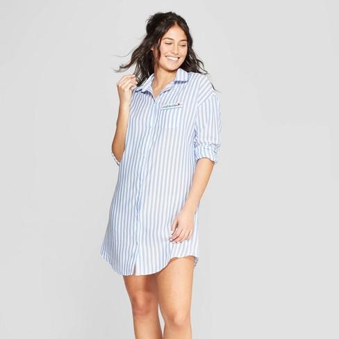 Women s Striped Simply Cool Button-Up Sleep Shirt - Stars Above™ Blue d4a6d3504