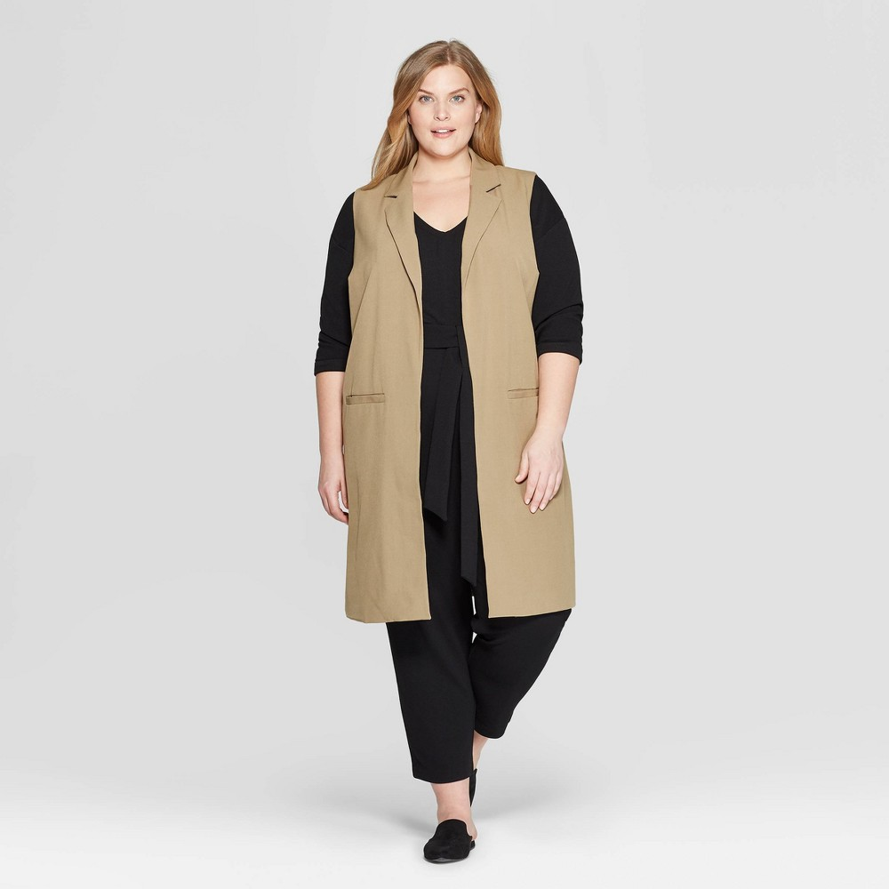 Women's Plus Size Sleeveless Open-Front Fashion Vest - Prologue Olive (Green) 1X