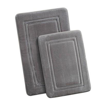 2pc HeiQ Antimicrobial Memory Foam Bath Rug Set Gray - Truly Calm