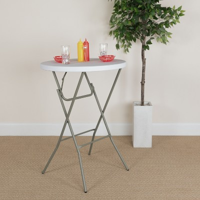 Emma and Oliver 2.6-Foot Round Granite White Plastic Bar Height Folding Event Table
