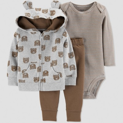 Baby Boys' 3pc Bear Cardigan Set - Just One You® made by carter's Gray 18M