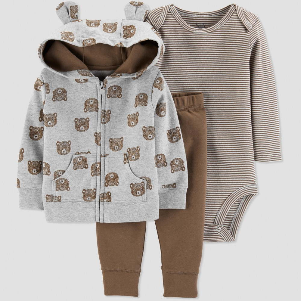 Baby Boys' 3pc Bear Cardigan Set - Just One You made by carter's Gray Newborn