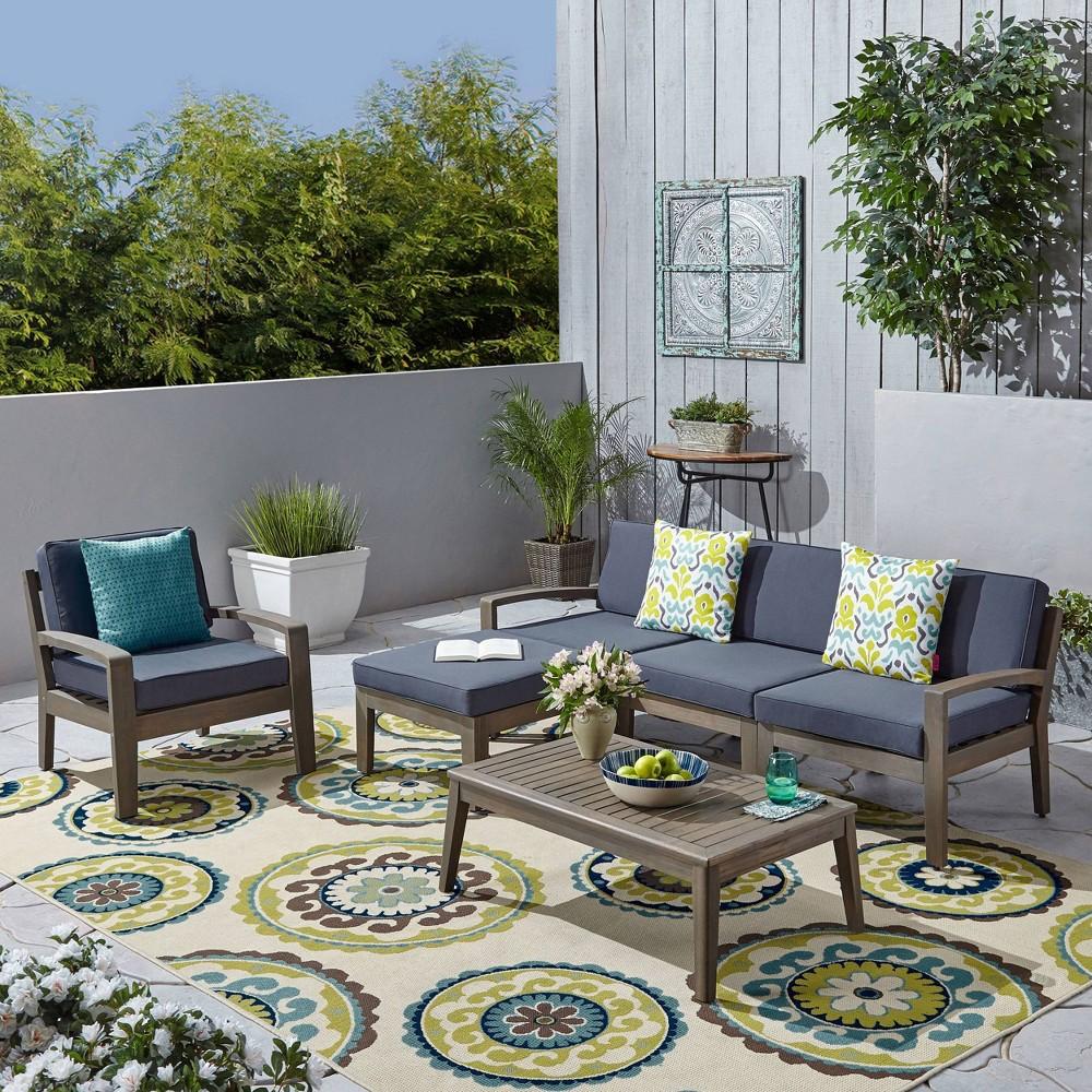 Grenada 6pc Acacia Wood Sofa Set - Gray/Dark Gray - Christopher Knight Home