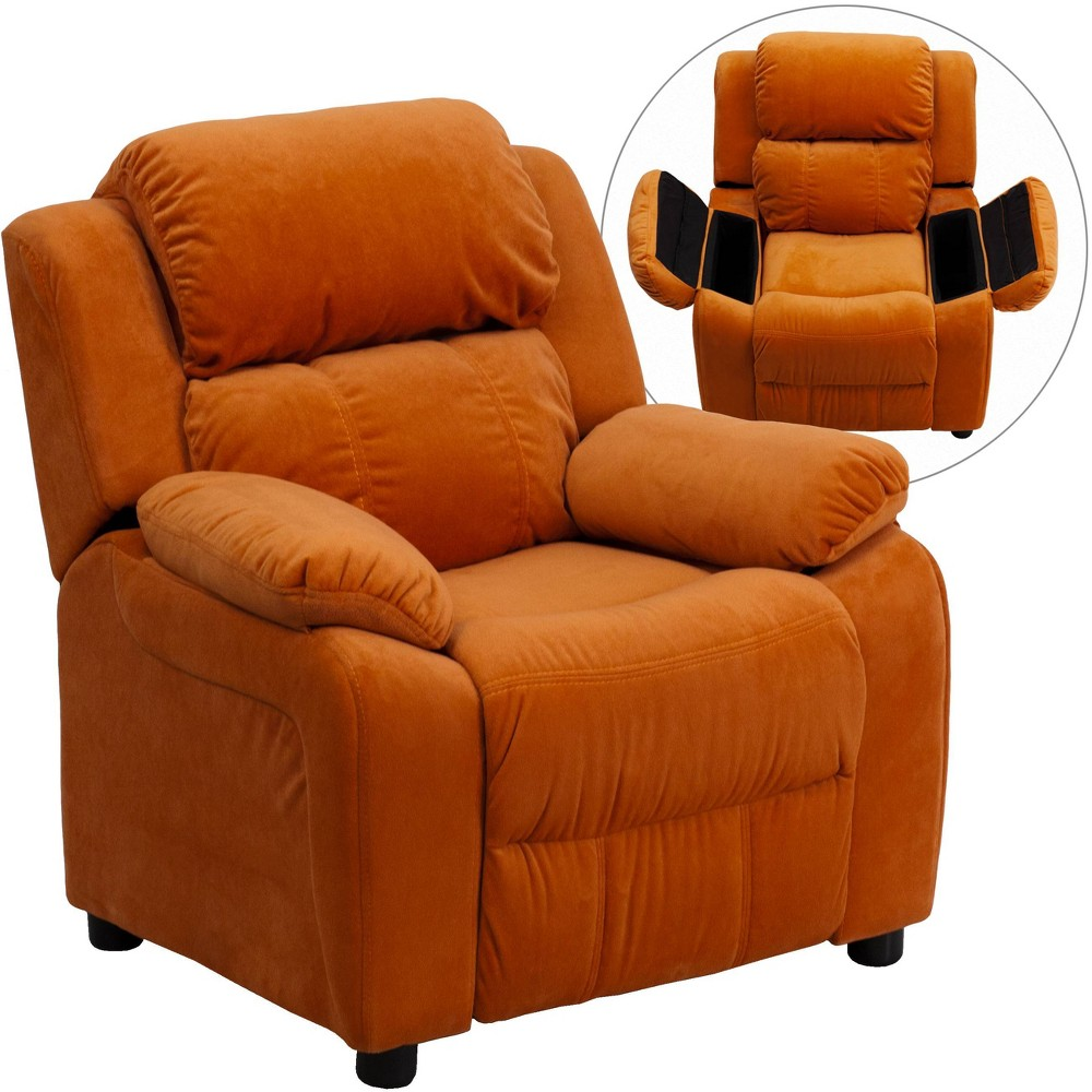 Deluxe Padded Contemporary Kids Recliner with Storage Arms Microfiber Orange - Riverstone Furniture