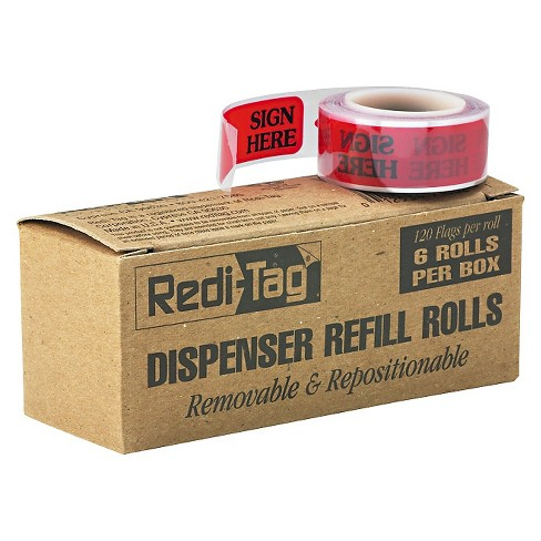 "Redi-Tag Message Right Arrow Flag Refills, ""Sign Here"", Red, 6 Rolls of 120 Flags/Box - image 1 of 1"