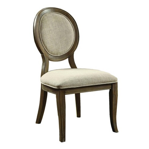 Set of 2 Fabric Upholstered Wooden Side Chairs with Round Design Backrest Brown/Beige - Benzara - image 1 of 4