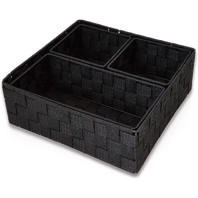 Set of 4 Black Drawer Dividers, Square Closet Drawer Organizer Storage Basket Box Bin, 3 Sizes