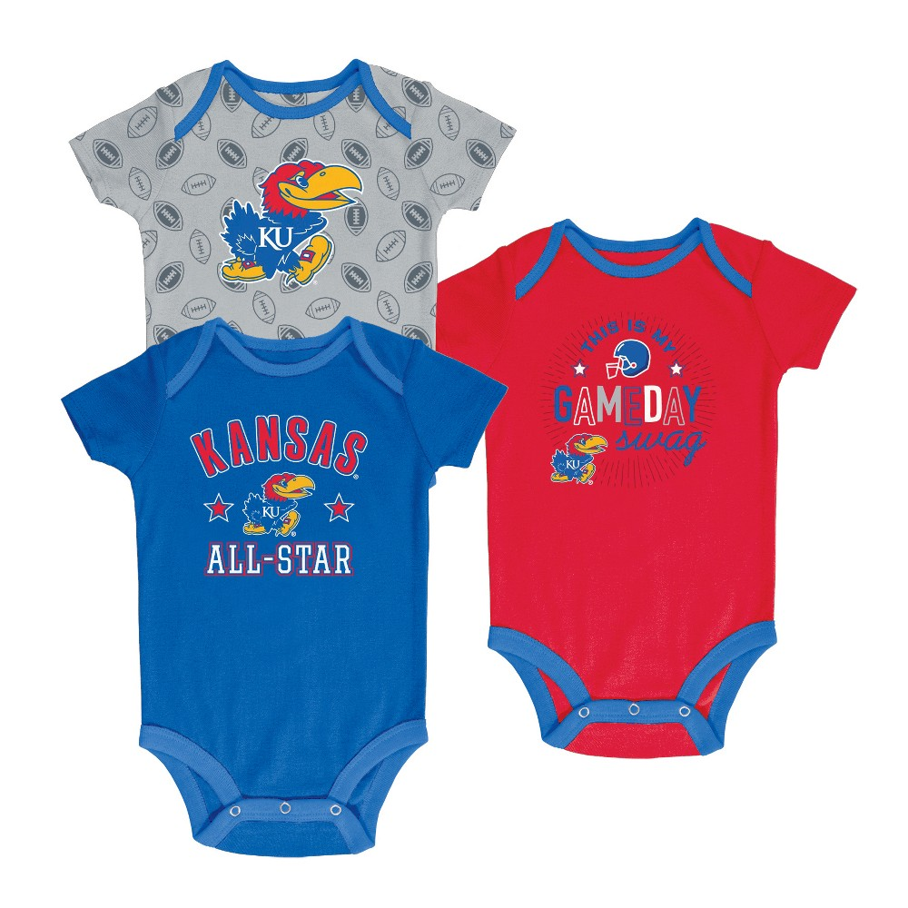 Kansas Jayhawks Baby Boy Short Sleeve 3pk Bodysuit - 0-3M, Multicolored