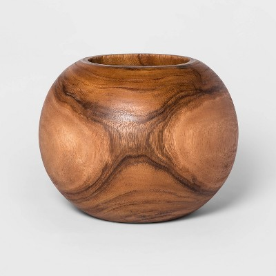 """12"""" x 8.6"""" Round Wood Planter Natural - Project 62™"""