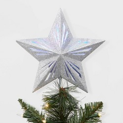 Lit Star Christmas Tree Topper Silver - Wondershop™