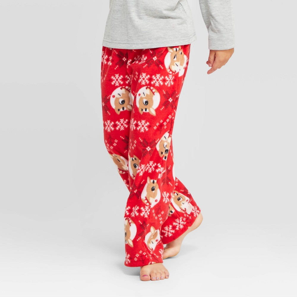 Image of Kids' Rudolph the Red-Nosed Reindeer Holiday Fleece Pajama Pants - Red 4, Kids Unisex