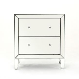 Jeremye 2 Drawer Mirrored Cabinet Silver - Christopher Knight Home