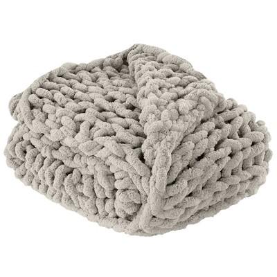 Modern Threads Hand Knit Chenille Chunky Knit Throw.