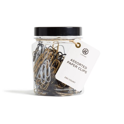 U Brands 280ct Paper Clips in Mason Jar Black/White/Gold
