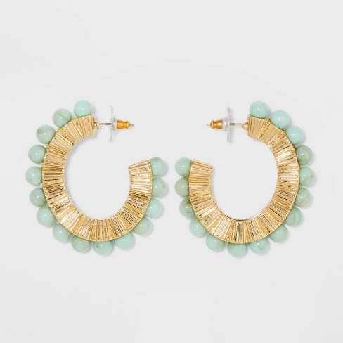 SUGARFIX by BaubleBar Eclectic Beaded Hoop Earrings - Jade/Gold - image 1 of 2