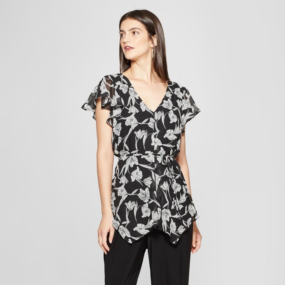 Women's Floral Print Short Sleeve Chiffon Jumpsuit - Notations - Black M