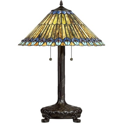 Robert Louis Tiffany Table Lamp Antique Bronze Tiffany Style Peacock Art Glass Shade for Living Room Family Bedroom Bedside Office