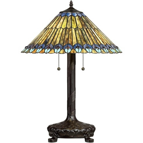 Robert Louis Tiffany Table Lamp Antique Bronze Tiffany Style Peacock Art Glass Shade for Living Room Family Bedroom Bedside Office - image 1 of 4