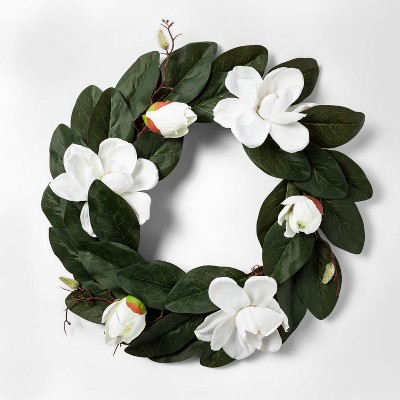 20.5  Artificial Magnolia Wreath White/Green - Threshold™