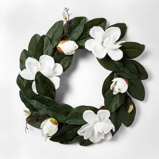 """20.5"""" Artificial Magnolia Wreath White/Green - Threshold™"""