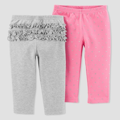 Baby Girls' 2pk Pants - Just One You® made by carter's Gray/Pink Glitter 9M