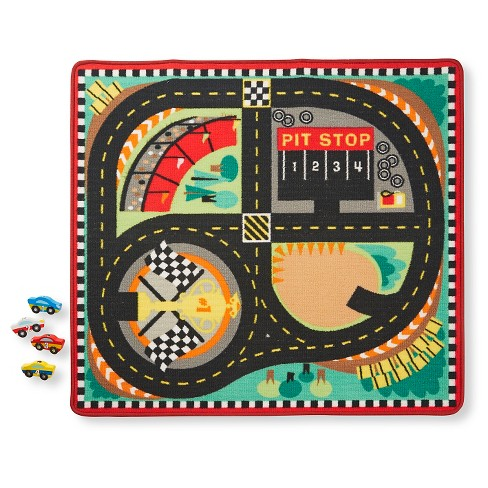 Melissa & Doug® Round the Speedway Race Track Rug With 4 Race Cars (39 x 36 inches) - image 1 of 4