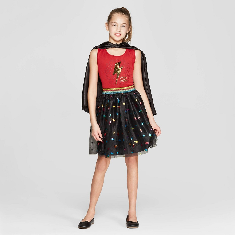 Girls' Harry Potter Bolt Flip Sequin Tank Dress - Burgundy/Black S, Red
