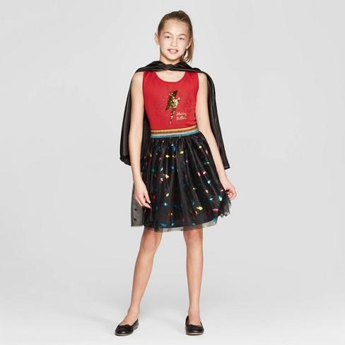 cc90811a801 Girls  Harry Potter Bolt Flip Sequin Tank Dress - Burgundy Black ...