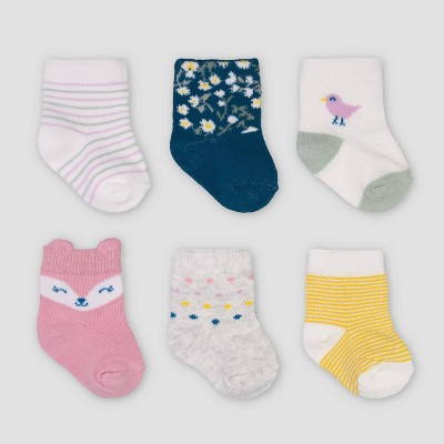 Baby Girls' 6pk Fox Crew Socks - Just One You® made by carter's