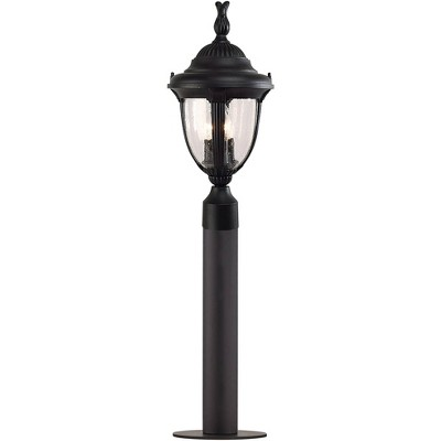 """John Timberland Traditional Outdoor Post Light Fixture LED Black 35 1/2"""" Seeded Glass for Exterior Garden Yard Driveway Walkway"""
