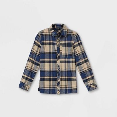 Boys' Plaid Woven Long Sleeve Button-Down Shirt - art class™ Cream/Navy