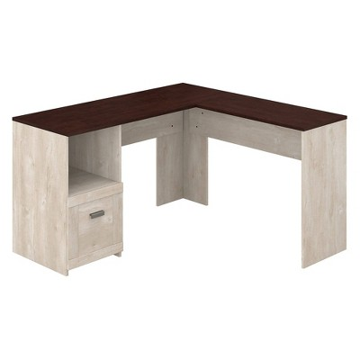 Townhill L Shaped Desk Washed Gray/Madison Cherry - Bush Furniture