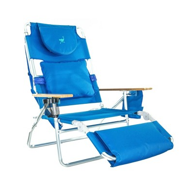 Ostrich Deluxe Padded 3-N-1 Outdoor Lounge Reclining Beach Chair, Blue