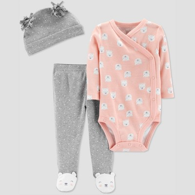 Baby Girls' 3pc Flora Set with Cap - Just One You® made by carter's Pink Newborn