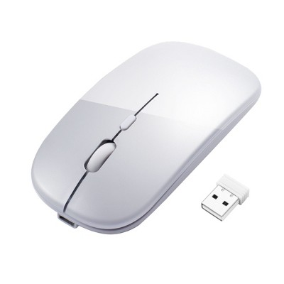INSTEN BT 5.1 2.4G Dual Mode Wireless Rechargeable Mouse, Slim Silent Click, 1600DPI Portable Mouse for Laptop Windows 10 Android MacBook, Silver