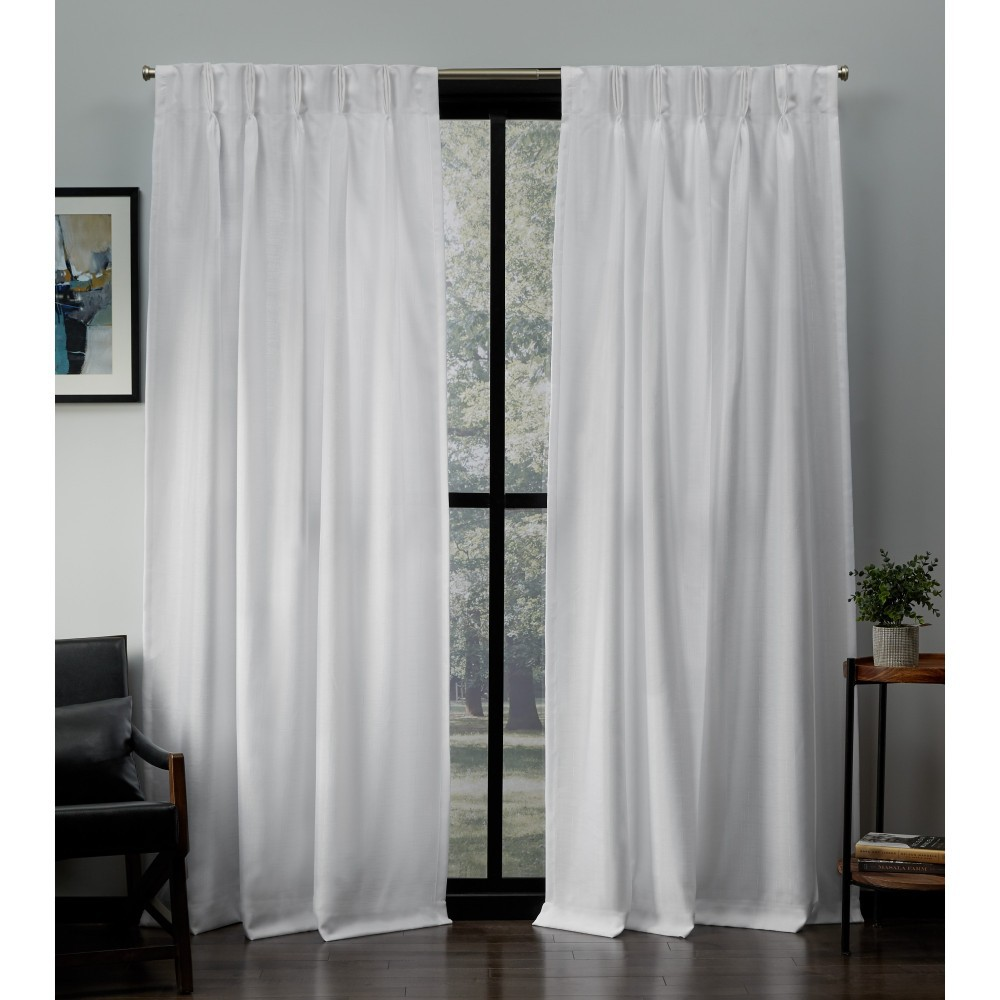 """Image of """"27""""""""x96"""""""" Loha Linen Pinch Pleat Window Curtain Panel Pair White - Exclusive Home"""""""