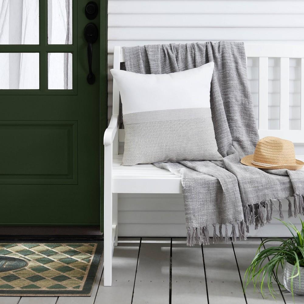 "Image of ""20"""" Outdoor Throw Pillow Natural/Gray"""