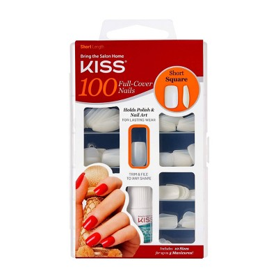 Kiss Full Cover Fake Nails - Short Square - 100ct