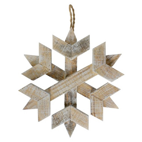 Northlight 11 5 Wooden Hanging Snowflake Christmas Ornament Target