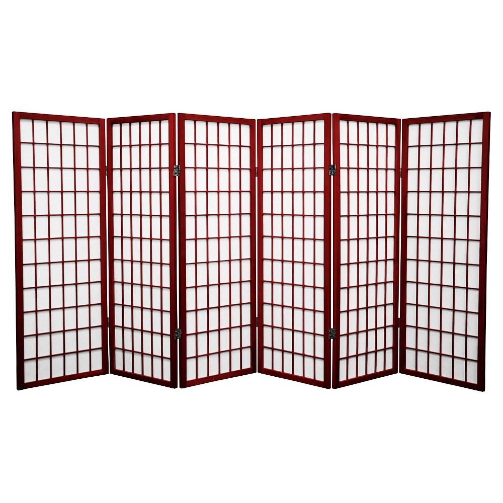 4 ft. Tall Window Pane Shoji Screen - Rosewood (6 Panels)