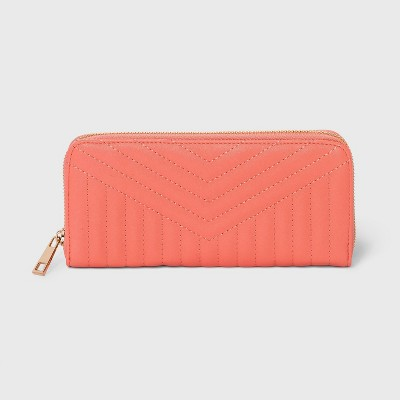 Women's Zip Closure Wallet - A New Day™ Coral