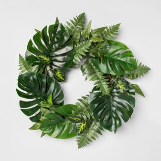"24"" Artificial Monstera And Fern Leaves Wreath Green - Opalhouse™"