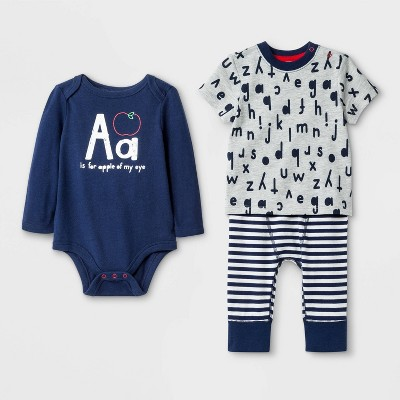 Baby Boys' 3pc Top And Bottom Set - Cat & Jack™ Blue 3-6M