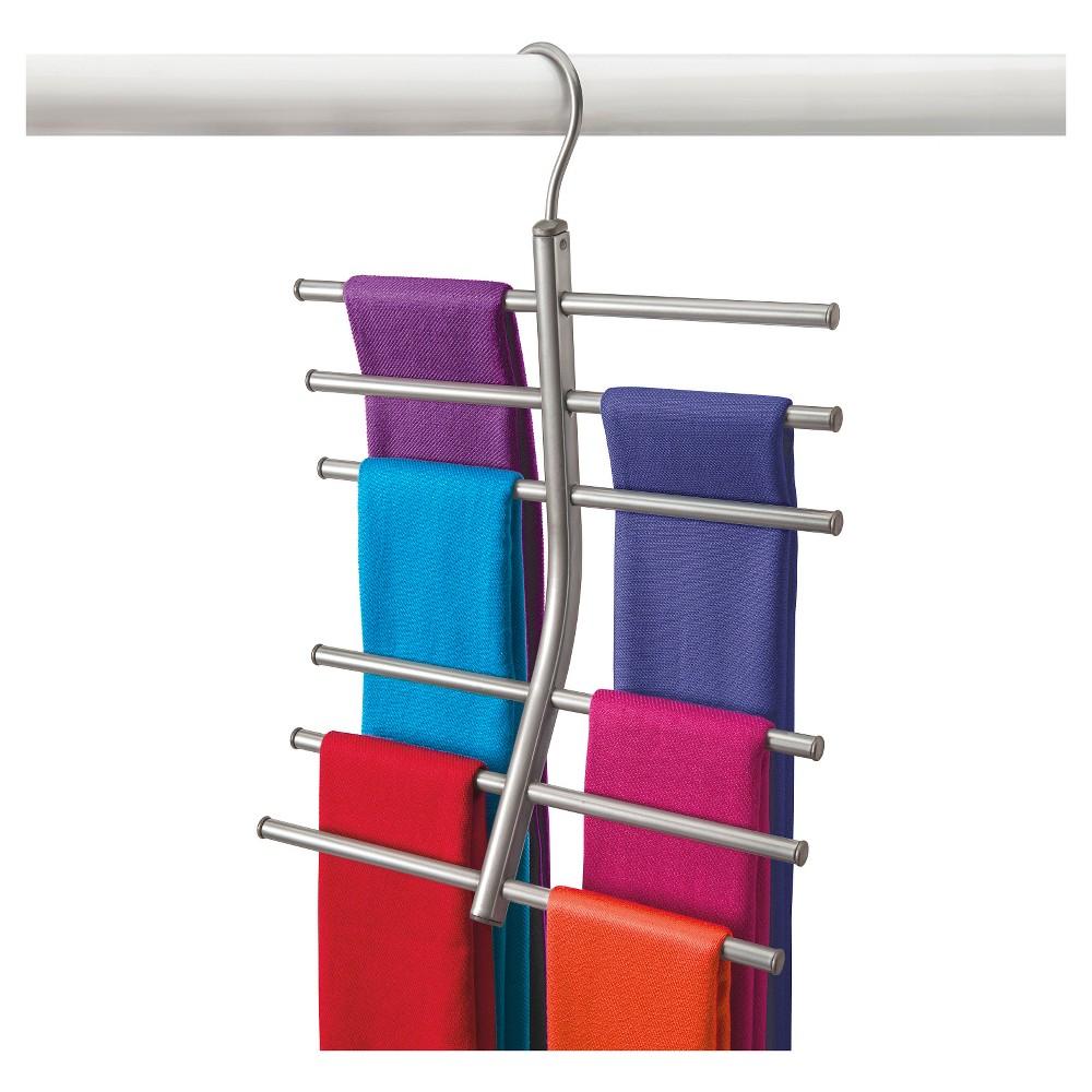 Image of Lynk Hanging Tiered Scarf Holder - Closet Hanger - Organizer Rack - Platinum, Silver