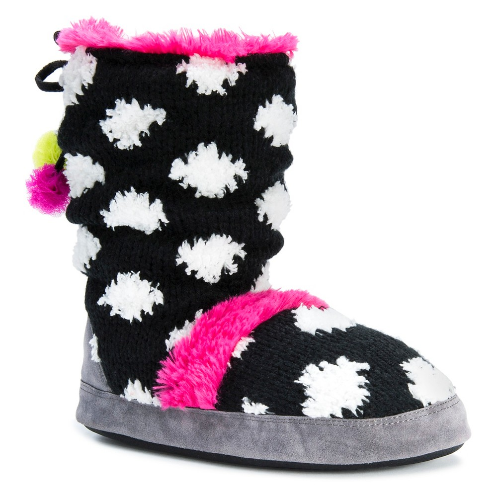 Women's Muk Luks Jenna Polka Dot Slipper Boots - Black XL(11-12), Size: XL (11-12)