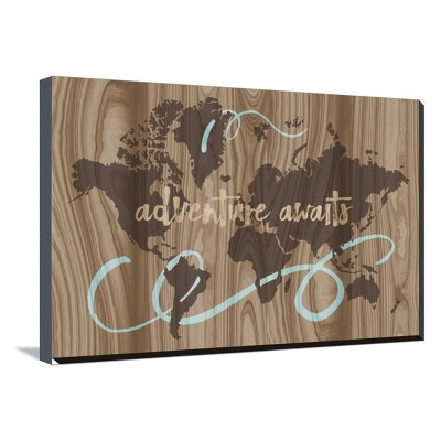 Adventure By Erin Clark Stretched Unframed Wall Canvas Print Brown 30 x20  - Art.com