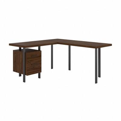 Architect L Shaped Desk with Drawers Modern Walnut - Bush Furniture