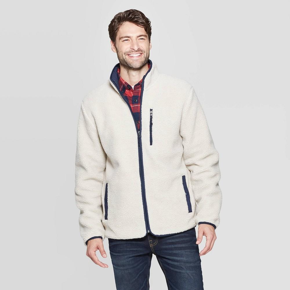 Image of Men's Sherpa Mock Neck Fashion Jacket - Goodfellow & Co Cream XL, Men's, Beige