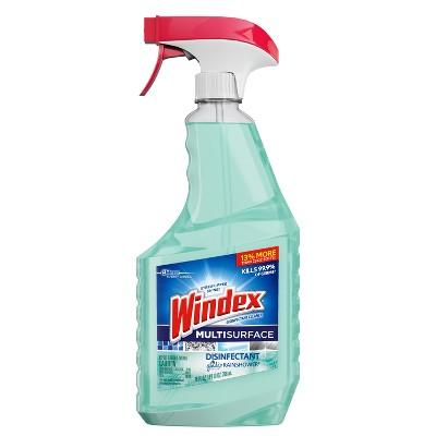 Windex Multi-Surface Disinfectant Cleaner Trigger Bottle, Rainshower - 26 fl oz