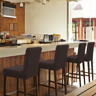 Polyester Spandex Stretch Bar Stool Cover for Bar Height Side Elastic Closure Chair Slipcovers  - PiccoCasa
